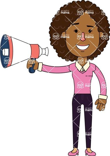 Minimalistic African American Girl Vector Character Design AKA Liana - Loudspeaker