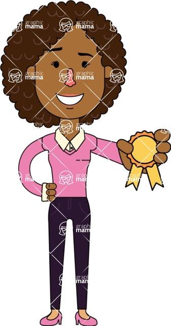 Minimalistic African American Girl Vector Character Design AKA Liana - Ribbon