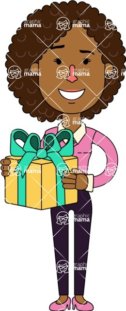 Minimalistic African American Girl Vector Character Design AKA Liana - Gift