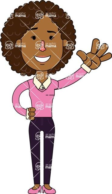 Minimalistic African American Girl Vector Character Design AKA Liana - Wave