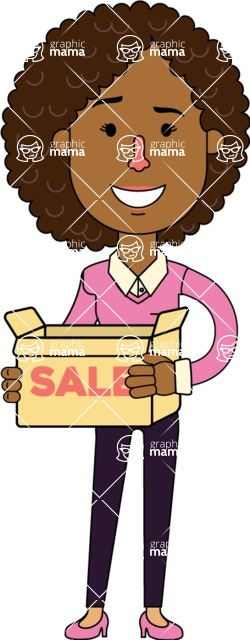 Minimalistic African American Girl Vector Character Design AKA Liana - Sale