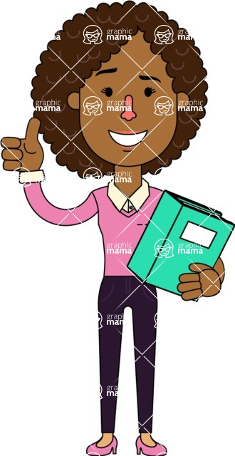 Minimalistic African American Girl Vector Character Design AKA Liana - Book 3