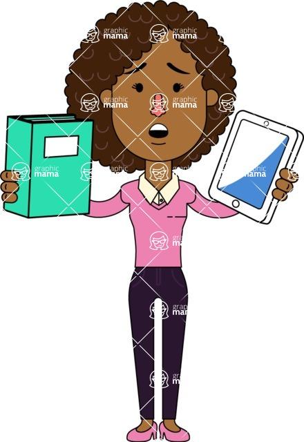 Minimalistic African American Girl Vector Character Design AKA Liana - Book and iPad