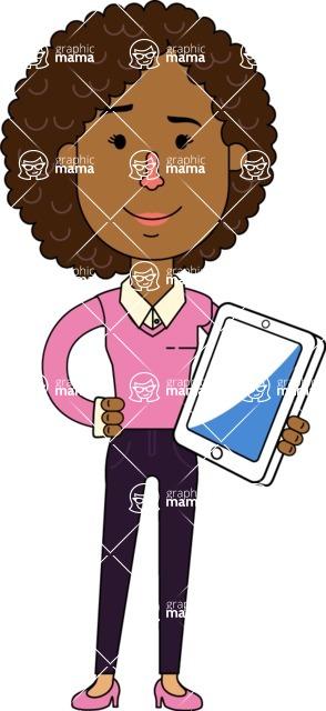 Minimalistic African American Girl Vector Character Design AKA Liana - iPad3