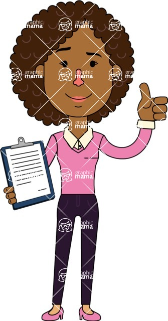 Minimalistic African American Girl Vector Character Design AKA Liana - Notepad 1