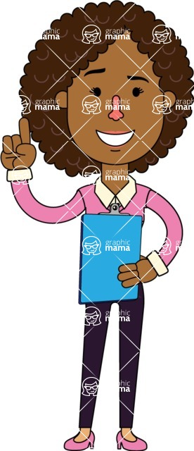 Minimalistic African American Girl Vector Character Design AKA Liana - Notepad 2