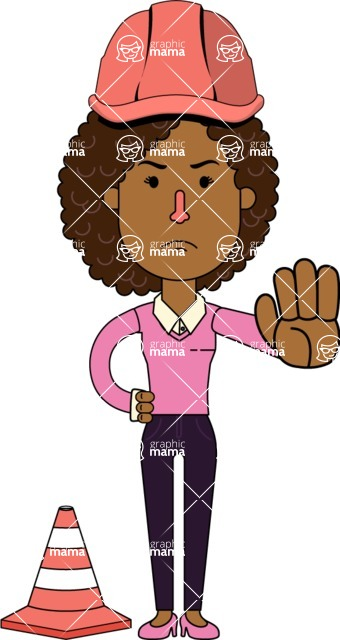 Minimalistic African American Girl Vector Character Design AKA Liana - Under Construction 1