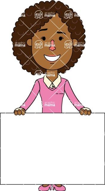 Minimalistic African American Girl Vector Character Design AKA Liana - Sign 6