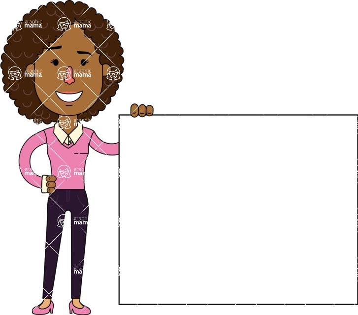 Minimalistic African American Girl Vector Character Design AKA Liana - Sign 8