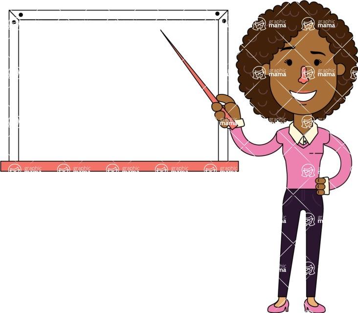 Minimalistic African American Girl Vector Character Design AKA Liana - Presentation 3