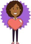 Minimalistic African American Girl Vector Character Design AKA Liana - Shape 4