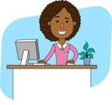 Minimalistic African American Girl Vector Character Design AKA Liana - Shape 6