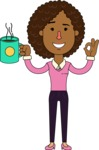 Minimalistic African American Girl Vector Character Design AKA Liana - Coffee