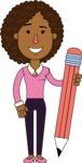 Minimalistic African American Girl Vector Character Design AKA Liana - Pencil