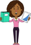 Minimalistic African American Girl Vector Character Design AKA Liana - Book and iPad
