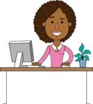 Minimalistic African American Girl Vector Character Design AKA Liana - Laptop 1