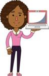 Minimalistic African American Girl Vector Character Design AKA Liana - Laptop 2