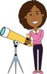 Minimalistic African American Girl Vector Character Design AKA Liana - Telescope