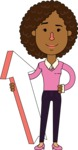 Minimalistic African American Girl Vector Character Design AKA Liana - Pointer 1