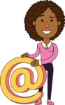 Minimalistic African American Girl Vector Character Design AKA Liana - Email