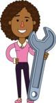 Minimalistic African American Girl Vector Character Design AKA Liana - Repair