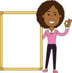 Minimalistic African American Girl Vector Character Design AKA Liana - Presentation 4