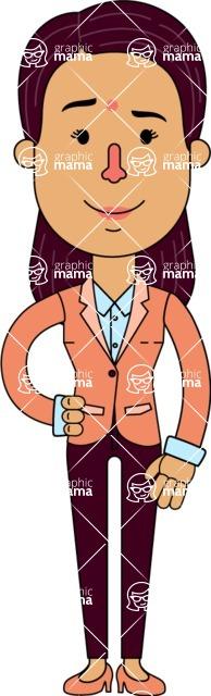 Flat Indian Girl Vector Character Design AKA Anika Hardworking - Normal