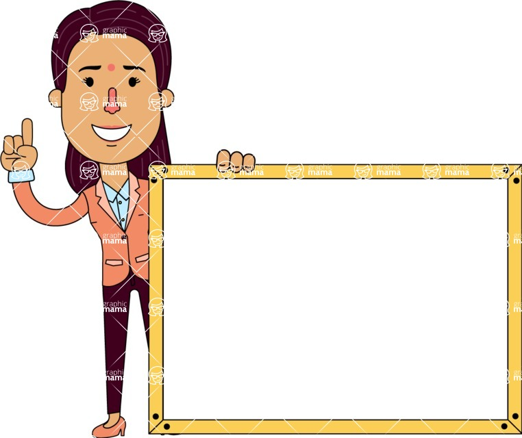 Flat Indian Girl Vector Character Design AKA Anika Hardworking - Presentation 5