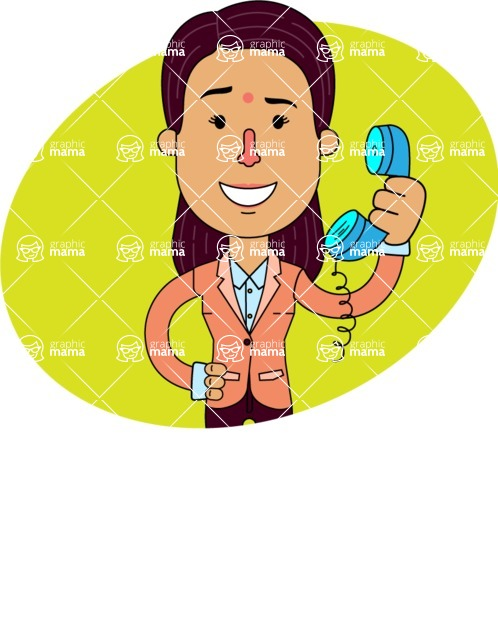 Flat Indian Girl Vector Character Design AKA Anika Hardworking - Shape 1