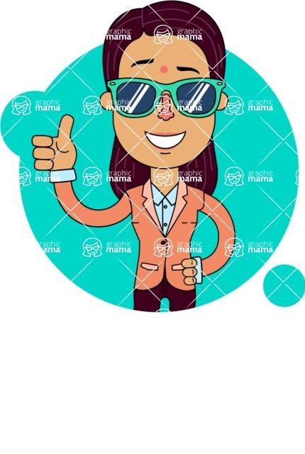 Flat Indian Girl Vector Character Design AKA Anika Hardworking - Shape 2