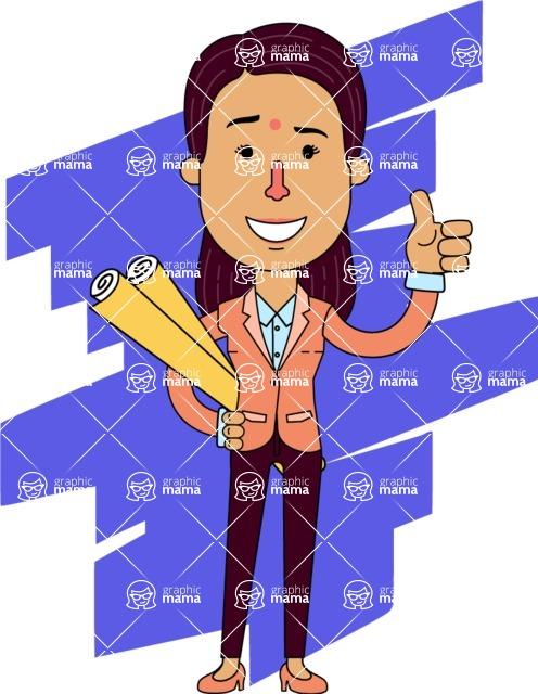 Flat Indian Girl Vector Character Design AKA Anika Hardworking - Shape 5