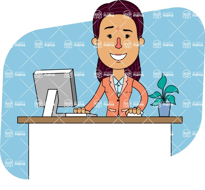 Flat Indian Girl Vector Character Design AKA Anika Hardworking - Shape 6