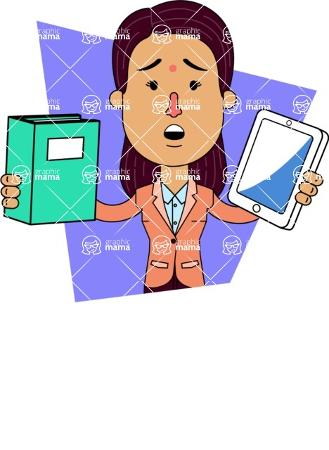 Flat Indian Girl Vector Character Design AKA Anika Hardworking - Shape 11