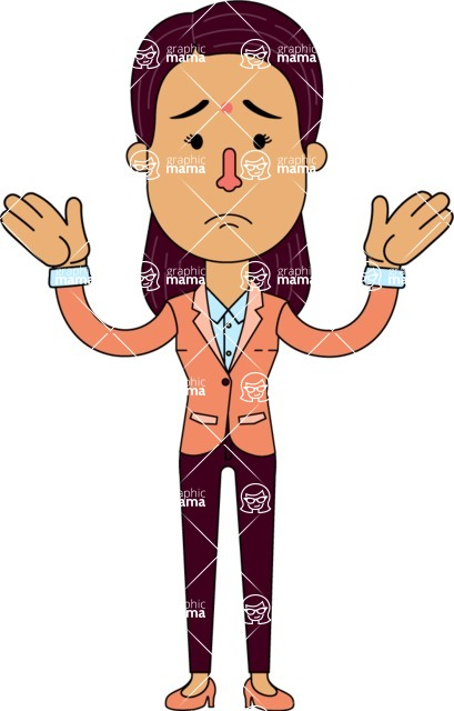 Flat Indian Girl Vector Character Design AKA Anika Hardworking - Sad