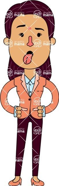 Flat Indian Girl Vector Character Design AKA Anika Hardworking - Making Face