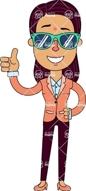 Flat Indian Girl Vector Character Design AKA Anika Hardworking - Sunglasses