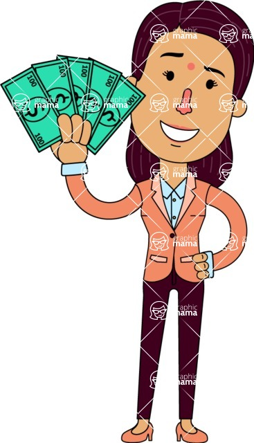 Flat Indian Girl Vector Character Design AKA Anika Hardworking - Show me the Money