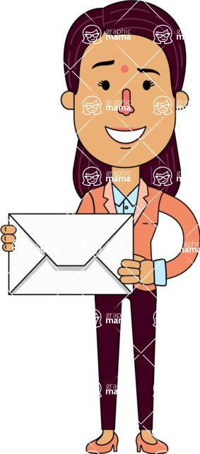 Flat Indian Girl Vector Character Design AKA Anika Hardworking - Letter