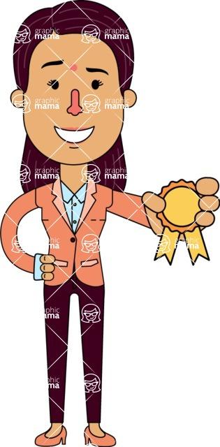 Flat Indian Girl Vector Character Design AKA Anika Hardworking - Ribbon