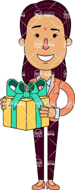 Flat Indian Girl Vector Character Design AKA Anika Hardworking - Gift