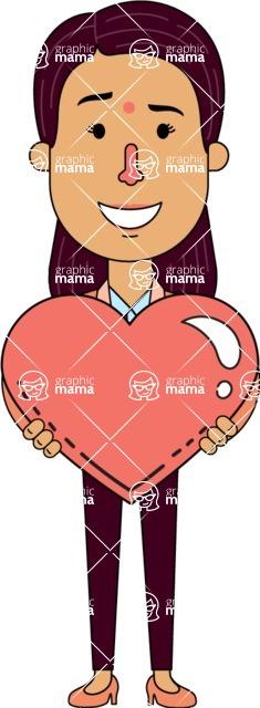 Flat Indian Girl Vector Character Design AKA Anika Hardworking - Love