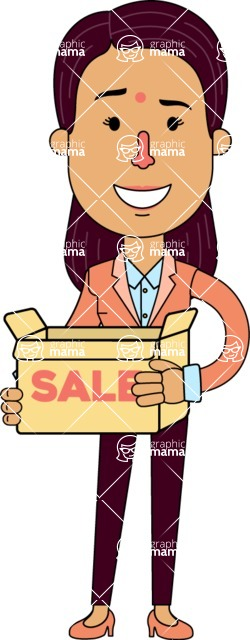 Flat Indian Girl Vector Character Design AKA Anika Hardworking - Sale