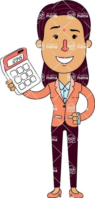 Flat Indian Girl Vector Character Design AKA Anika Hardworking - Calculator
