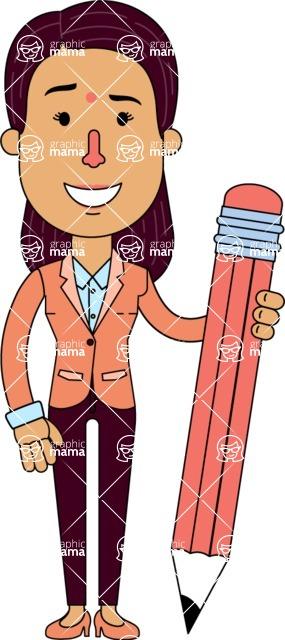 Flat Indian Girl Vector Character Design AKA Anika Hardworking - Pencil
