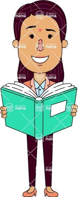 Flat Indian Girl Vector Character Design AKA Anika Hardworking - Book 1
