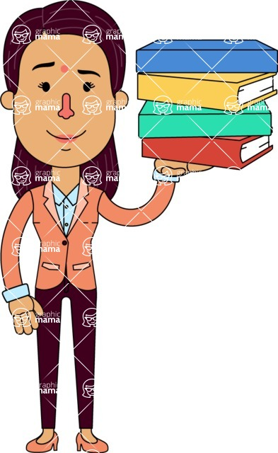 Flat Indian Girl Vector Character Design AKA Anika Hardworking - Book 2