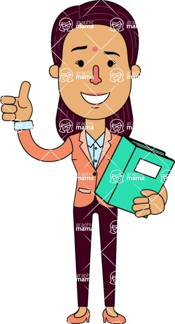 Flat Indian Girl Vector Character Design AKA Anika Hardworking - Book 3