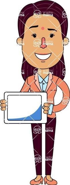 Flat Indian Girl Vector Character Design AKA Anika Hardworking - iPad 2