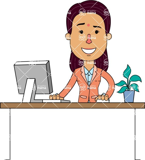 Flat Indian Girl Vector Character Design AKA Anika Hardworking - Laptop 1