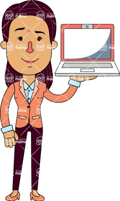 Flat Indian Girl Vector Character Design AKA Anika Hardworking - Laptop 2